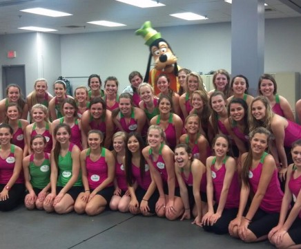 CHS Lariette drill team poses with Goofy after the conclusion of their mock audition in Disney World Saturday March 23.