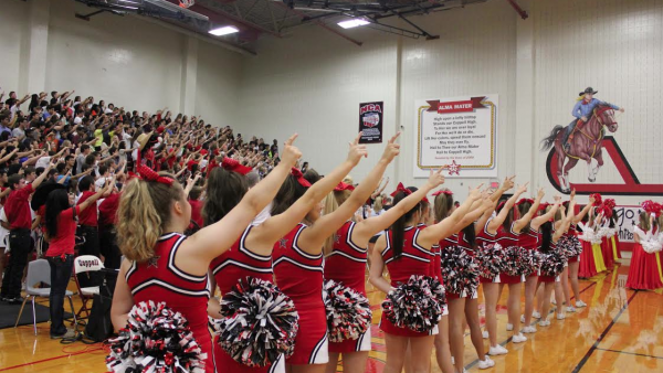 CHS students sing the alma mater at the end of the first pep rally of the 2014-2015 school year.