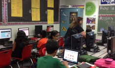 Ms. Messer's fourth-period iExplore class at CMS East utitilizes technology while working on their 'All About Me' projects on Thursday Sept 18.