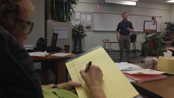 Junior Brennan Jackson practices debate speech in front of teacher Glenda Ferguson during class on October 3. Photo by Olivia Lommen.