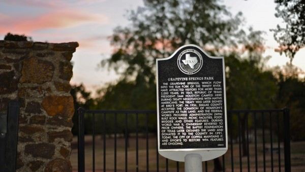Grapevine Springs Park is home to one of Coppell's historical markers. The farming community of Grapevine Springs was organized in present-day Grapevine Springs Park in 1832. The springs area was a campground and was apparently the location where Sam Houston signed a treaty with the local Indians. Photo by Sarah VaderPol.