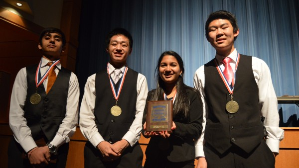 Sophomores Revant Ranjan, Alan Huo, Soundarya Daliparthy and Jonathan Goh will advance to state in their team event for Global Marketing. Photo by Pranathi Chitta.