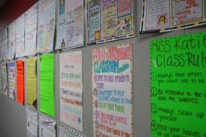 Ready, Set, Teach! students' classroom rules posters are displayed in the hallway