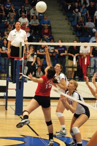 Sophomore Bear Bass was one of the standouts of the Coppell-Allen volleyball match-up.