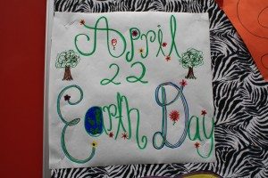 CHS supported the recognition of Earth Day on its walls. Photo by Jodie Woodward