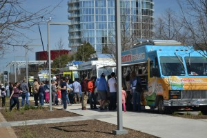 Food trucks are a daily presence at the Klyde Warren Park. Photo by Elizabeth Sims.