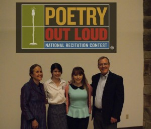 Mistress of ceremonies Naomi Shihab Nye, 2013 winner Maria Zuniga, 2013 runner up Brianna Herrera, and Texas Commission on the Arts Executive Director Gary Gibbs.Courtesy of Freddy Martinez.