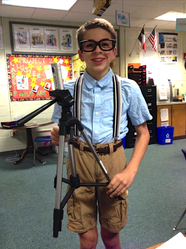 "Seventh grade Coppell Middle School West multimedia student Sam Castranova dresses as a nerd for his short film titled ""Confidence"". Photo courtesy of Monica Champagne."