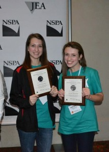 News Editor Caroline Carter and Page Design Editor Jordan Bickham stand together after the awards ceremony at the JEA/ NSPA convention.