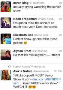 Students tweet their positive feedback for the 2013 KCBY senior awards show on Friday May 24.