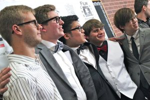 """At the CHS Film Festival on Monday evening, the members of Wicked Cricket Studios pose on the red carpet, which they walked to answer questions about their film """"The Mammoth Affray"""" which premiered at the festival. Photo by Regan Sullivan."""