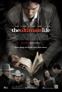 The official movie poster for The Ultimate LIfe with Logan Bartholomew as Jason Stevens holding Red's journal.