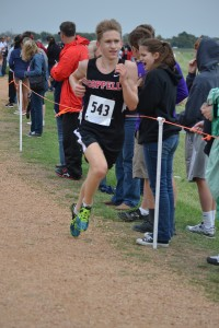 Senior Carson Vickroy finished eighth in the individual Varsity boys standings and qualified for the Region I Meet. Photo by Elizabeth Sims.