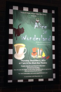 "After rescheduling due to inclement weather, Eric Franklin's Take One Class perforce ""Alice in Wonderland"" this past thursday in the Coppell High School Black Box."