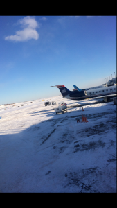 On Sunday, the airport in St. Louis was coated in snow, making it hard for senior Kayleigh Smith and her family to get home. Photo courtesy Kayleigh Smith.
