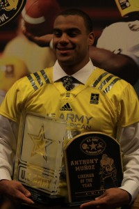 """Coppell senior defensive end Solomon Thomas holds the Anthony Munoz and Feilx """"Doc"""" Blanchard Awards after the 2014 U.S. Army All-American Bowl Awards Show. Thomas will be playing in the U.S. Army All-American Bowl at the Alamodome in San Antonio, Texas. Photo by Mark Slette."""