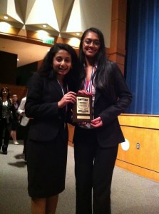 Sophomore Sneha Karkala(left) and senior Sneha Jain(right) pose with their award following their Presentation Management Team event win at the Business Professionals of America Regionals competition on Jan. 25 at Denton Guyer High School.