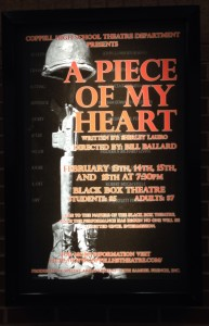 """The play """"A Piece of my Heart"""" is featured in the Black Box Theater Thursday through Friday."""