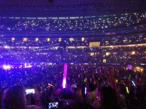A sea of glittering lights was common inside AT&T Stadium during the slow songs in One Direction's set list as Directioners turned the flash on their phones and swung them gently back and forth to give the songs a more sentimental, heartfelt feeling. Photo by Tuulia Koponen