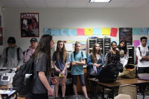 KCBY senior asks the freshmen visiting each EMAC academy classroom if they have any questions and what they want to learn more about. The freshmen are learning about each academy so they know what type of job they want to go into. Photo by Aubrie Sisk.
