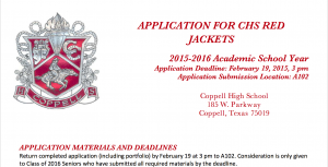 Red Jackets for next year are gearing up by grabbing the applications before they go offline on February 6th.