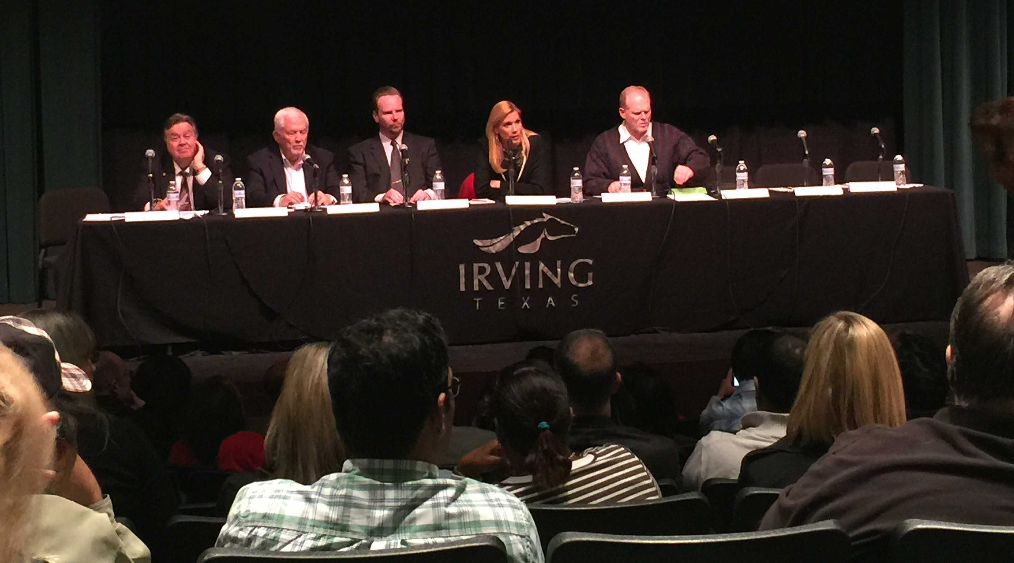 The city of Irving held a meeting  at the Irving Arts center where there was a question and answer session directed at the mayor for concerned residents. Photo by Kara Hallam
