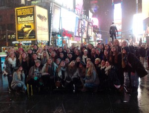 The entire CHS Lariette drill team went to New York City this past weekend to take dance classes and explore the city. Photo provided by Kate Dastur.
