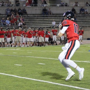 Coppell High School JV Red sophomore and quarterback Wiley Green passes in the Cowboys' victory over L.D. Bell 31-0 on Sept. 24 at Buddy Echols Field.
