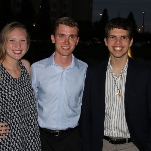 Coppell High School senior camp counselor Sierra Latshaw poses with director Sean Russell and board member Eric Gibbons (left to right). The three serve as current leaders and instructors for new members of SeaWorld camp. Photo courtesy Sierra Latshaw.