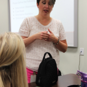 AP Psychology teacher Mrs. Leyendecker teaches her 5th period students to better understand the concepts of the course on Sept. 22 at Coppell High School. This is the first year Mrs. Leyendecker teaches this course. Photo by Alejandra Ceniceros