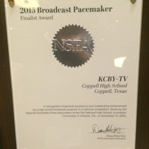 KCBY received the 2015 Broadcast Pacemaker Award from JEA/NSPA.