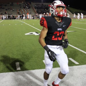 Coppell High School freshman defensive back Jonathon McGill runs off the field after the last play in the third quarter. Coppell High beat Haltom 44-6 Friday night at Buddy Echols Field. Photo by Megan Winkle