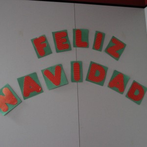 "Coppell High School foreign language hall puts up letters spelling ""Merry Christmas"" in Spanish to celebrate the holidays. Spanish teachers wish everyone a Merry Christmas and Happy New Year."